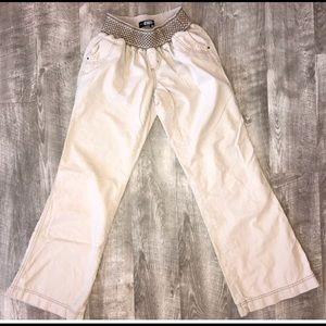 BOHO Tan Linen Beach Pants Sz M  Rewash EUC